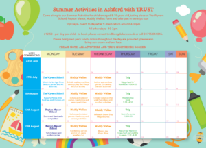 Summer Timetable of Activities for Ashford TRUST 2019