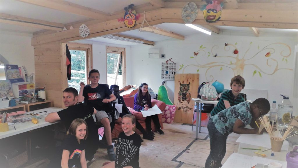 group of young people attending drama workshop